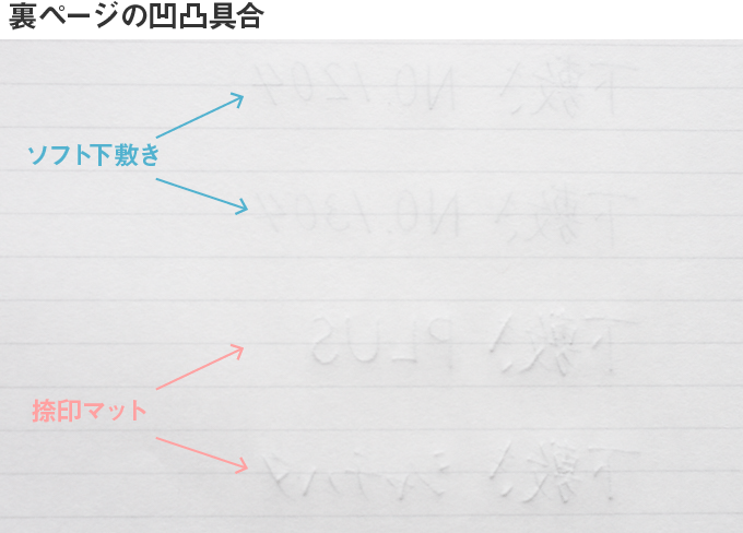 硬筆ソフト下敷きの書き比べ 裏ページ
