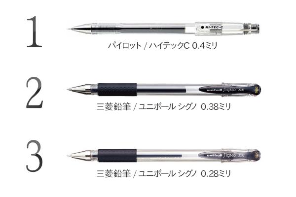 手本執筆でよく使用されたゲルインクボールペン【2015年版】