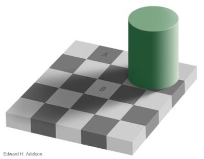 AとBのタイルが同じ色に見える絵