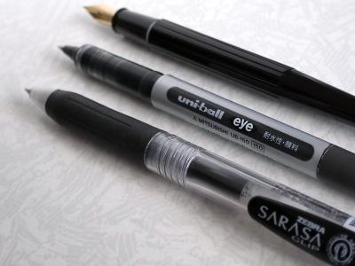 デスクペン、水性ボールペン、ゲルインクボールペン