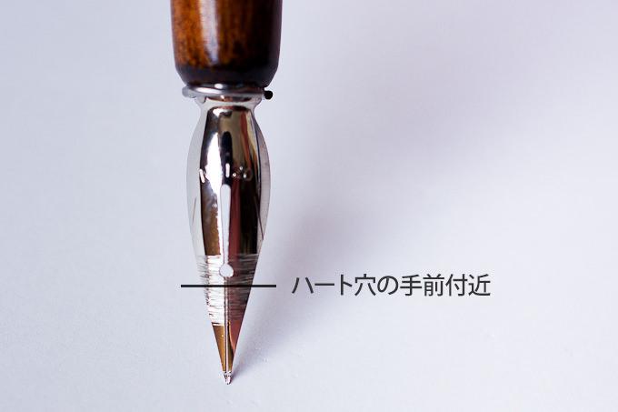 インクに浸す深さは、ハート穴より手前