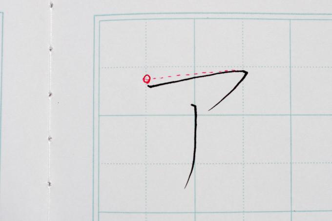 赤ペンで自己添削した「ア」