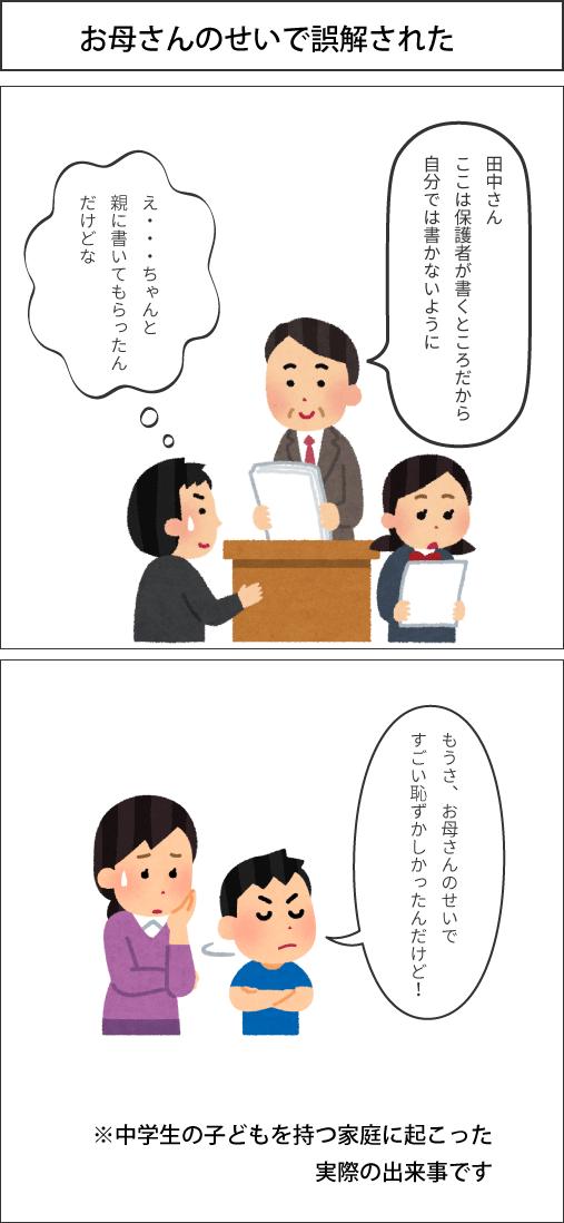 2コマ漫画 [お母さんのせいで誤解された]