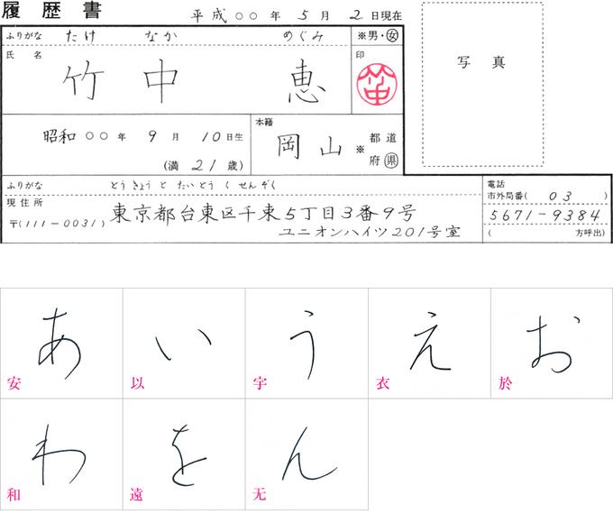 田中鳴舟先生の手本