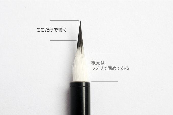 小筆で使用する穂先部分を説明した図解