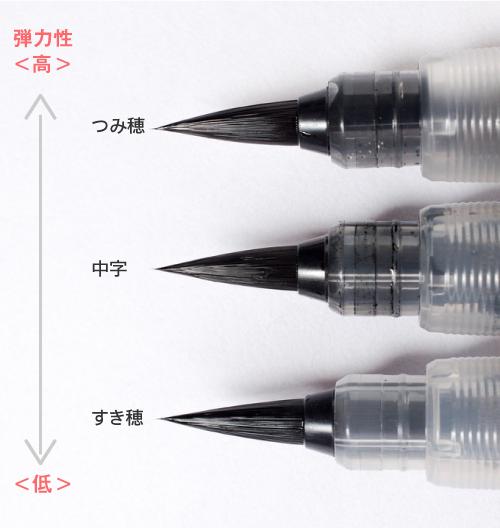ぺんてる筆「つみ穂」「中字」「すき穂」の違いを比較