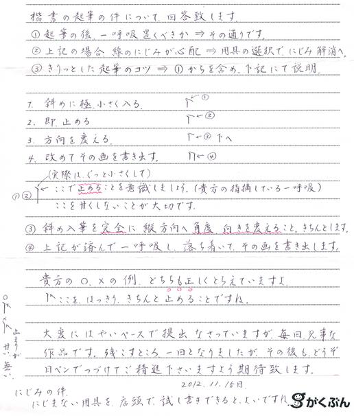 手書きによる詳細な質問回答