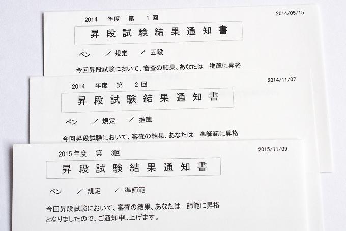 昇段試験の結果通知書