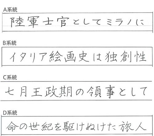 パイロットペン習字の手本 複数あるヨコ書きの様式