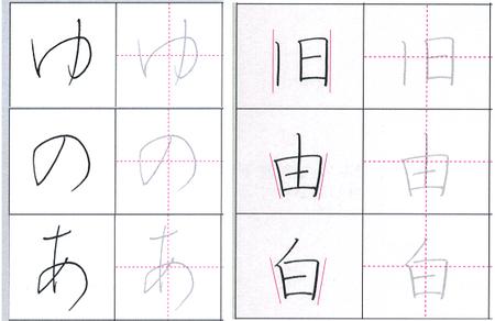 中心軸を示したペン習字手本