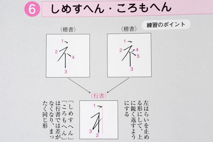 漢字の「しめすへん・ころもへん」を行書で書いた場合
