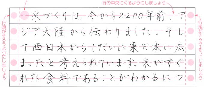 硬筆書写検定3級の模範解答例