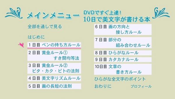 『10日で「美文字」が書ける本』DVDの目次